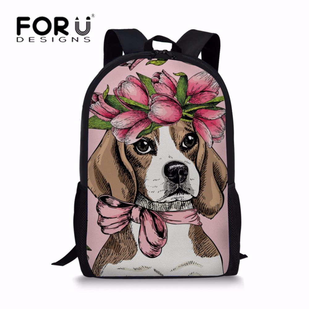 FORUDESIGNS Girls School Bags Lovely Beagle Flower Printing Heavy Duty Bookbag for Kids Cute Schoolbag Student Shoulder Backpack