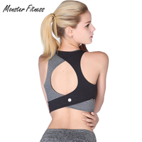 Monster 2018 Sports Bra Yoga Sexy Sports Top Women Black High Impact Gym Fitness Running Padded