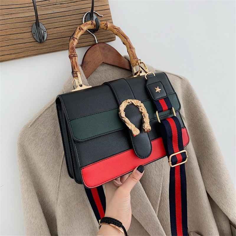 2019 New Panelled Wide Straps Shoulder Messenger Bags Fashion Casual Bamboo Handbag Women Clutch Purses