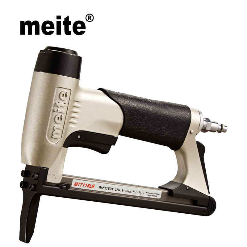 Meite MT7116LN 22 Gauga crown 9.0mm fine wire stapler with long nose tool gun 71 series furniture pneumatic nailer gun Jun.14