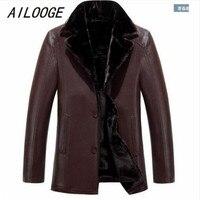 Ailooge nueva llegada eather ropa masculina mapache Pieles de animales capa de cuero de una pieza moda gruesa prendas de más tamaño M lxl2xl3xl