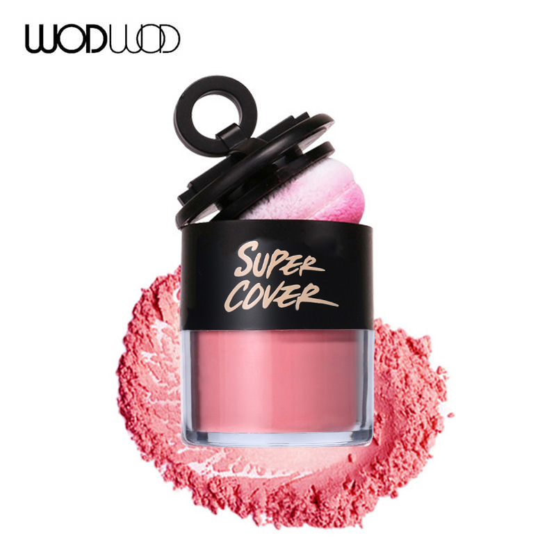 WODWOD 3 Colors Pure Mineral Blush Face Check Blusher Powder with Sponge Cosmetic Convenient Makeup Kit Natural Health Face