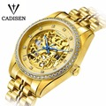 Cadisen Luxury Design Mechanical 5ATM Skeleton Watch Men Elegant Automatic Steel Hand Swiss Watch Men Military Relogio Masculino