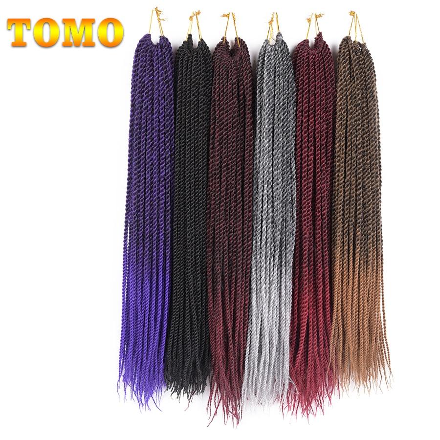 "TOMO 30Roots 14"" 16"" 18"" 20"" 22"" Ombre Kanekalon Crochet Braids Hair Extensions Synthetic Havana Senegalese Twist Braiding Hair"