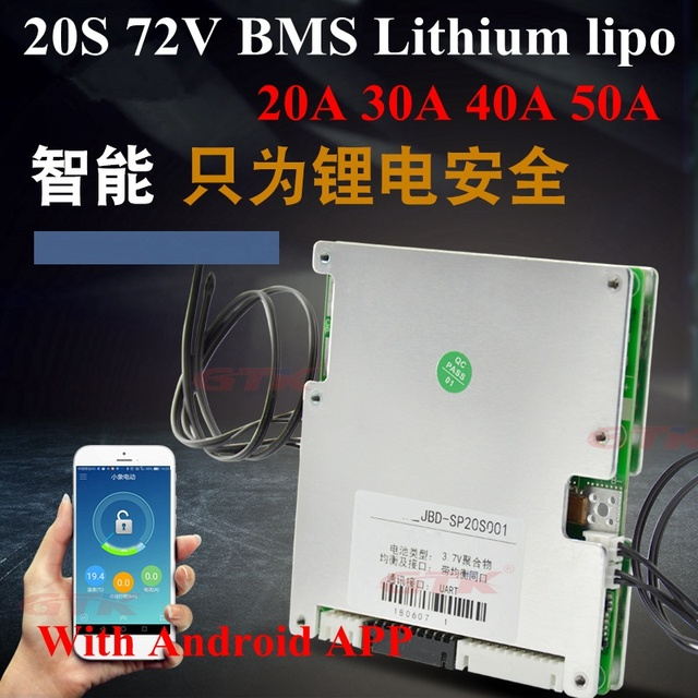US $58 0 |20S 72V 20A 30A 40A 50A Lithium smart BMS li ion lipo balance BMS  charge disply with communication UART android Bluetooth App-in Battery