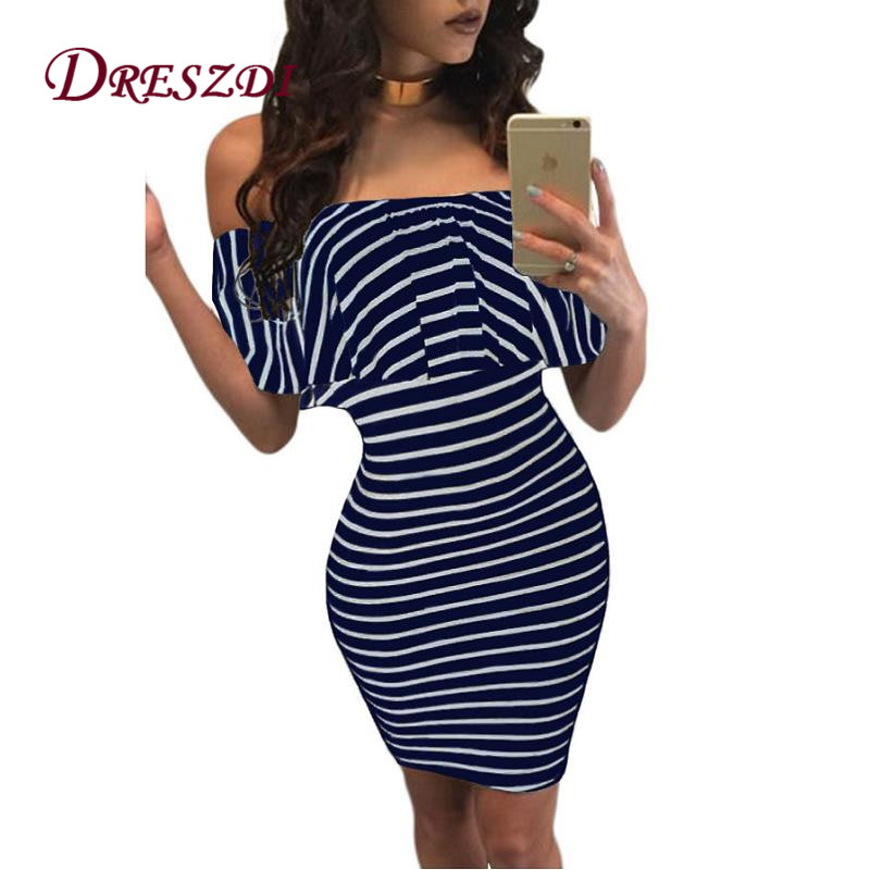 Clearance australia Shoulder Bodycon Dress Open Casual Striped pockets mystery