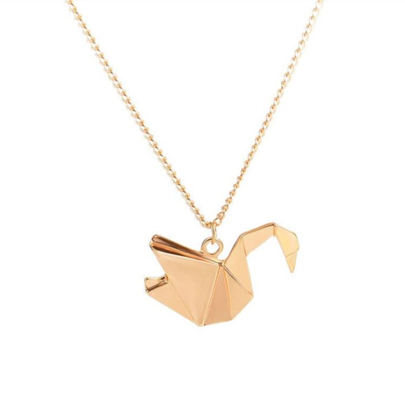 Timlee N035 Free shipping Cartoon Cute Animal Pigeon Bird Paper Crane Metal Necklaces Fashion Jewelry Wholesale