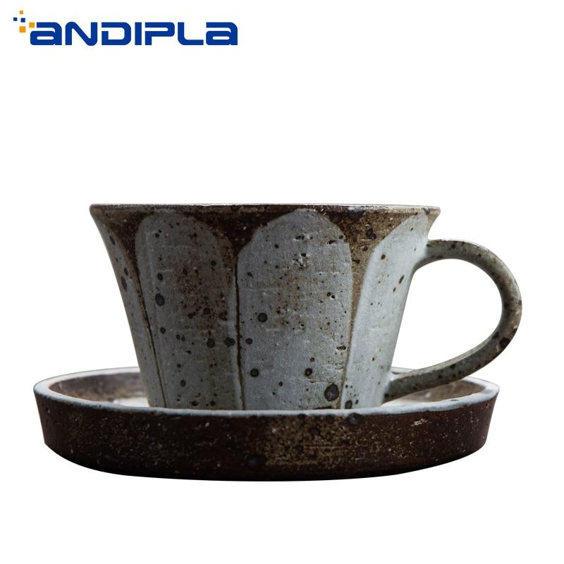280 ml Japanischen stil Vintage Groben Keramik Kaffee Tasse Handgemachte Keramik Becher Kreative Nachmittag Teetasse Hause Drink mit Untertasse