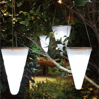 ITimo LED Solar Lamps Cone Porch Lamp Hanging Lantern With Light Sensor Garden Patio Landscape Decoraton