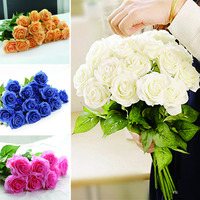 50pcs Artificial Flowers Bride Bridal Rose Silk Flowers Floral Latex Real Touch Decor Rose Wedding Bouquet Home Party Flowers