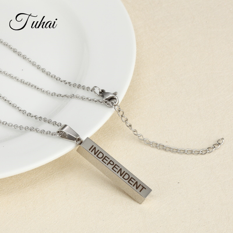 2 Colors Engrave Positive Word INDEPENDENT Strip Pendant Stainless Steel Necklace for Women Men Jewelry Gifts Chain Necklaces