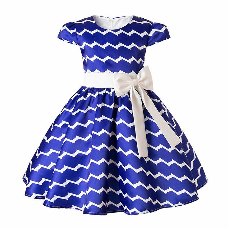 Girls Bow Sptriped dresses for party and wedding vestidos infantil Summer Princess Birthday Frocks costumes Blue 2 4 6 8 10 Year girls tulle tailing embroidery lace bow dress for wedding birthday party manual nail bead frocks costumes size 4 6 8 10 12 years