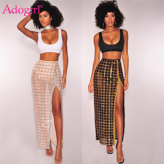 Adogirl Two Piece Set Women Crop Tank Top Sequins High Slit Maxi Dress Sexy  Party Club 987c86c0880d