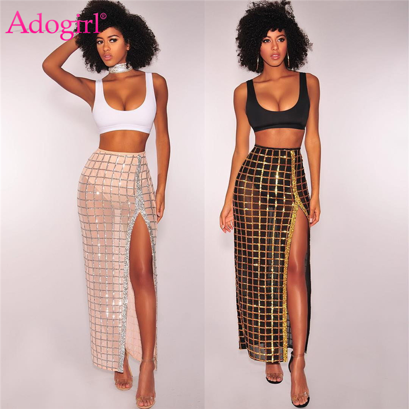 Adogirl Two Piece Set Women Crop Tank Top Sequins <font><b>High</b></font> <font><b>Slit</b></font> <font><b>Maxi</b></font> <font><b>Dress</b></font> <font><b>Sexy</b></font> Party Club Suit Summer Outfits Female Costumes image