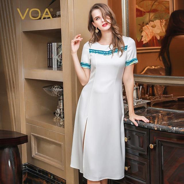 f64bb580644 VOA Heavy Silk T Shirt Dress Women Slim Long Dresses Solid White Office  Plus Size 5XL Summer Brief Sexy Split Short Sleeve B319