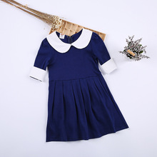 Childrens clothing 2019 spring and autumn new cotton pleated dress doll collar 5 points sleeve baby 2-10 years old