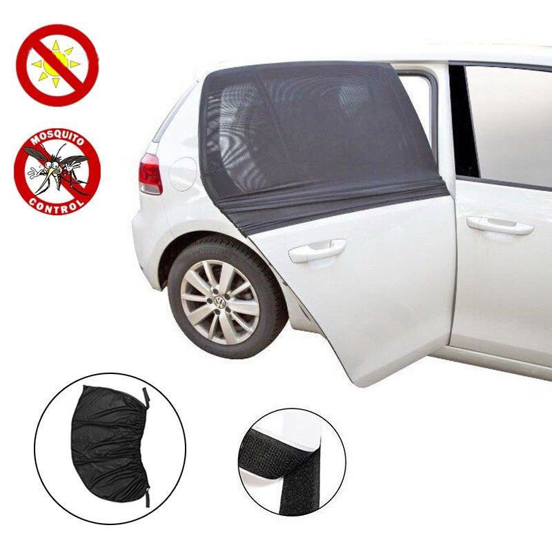 2x Car Side Window Sock Sunshade Visor Mosquito Net For Baby Kid Pet Breathable Sun Shade Mesh Backseat Block Curtains Black