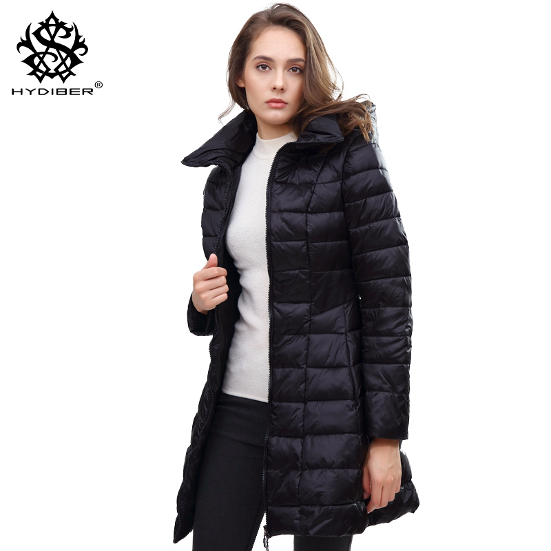hydiber 2017 Fashion New Black Slim Hooded Winter Women Parka Ladies Navy Blue Long Sleeve Warm Autumn Female Tops Jacket Coats hot autumn womens slim wool warm coat parka navy blue size s xl light tan red navy