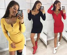 2018 Sexy Slim Bodycon Party Dress Vestidos Autumn Winter Dresses Women Knitted Dress Casual Long Sleeve Mini Black Red Dress