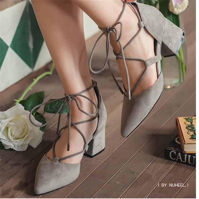 2017 nuheel женщины сандалии весна лето стиль насосы элегантные лодыжки ремень высокие каблуки обуви мелкой кросс-привязаны острым носом зашнуровать