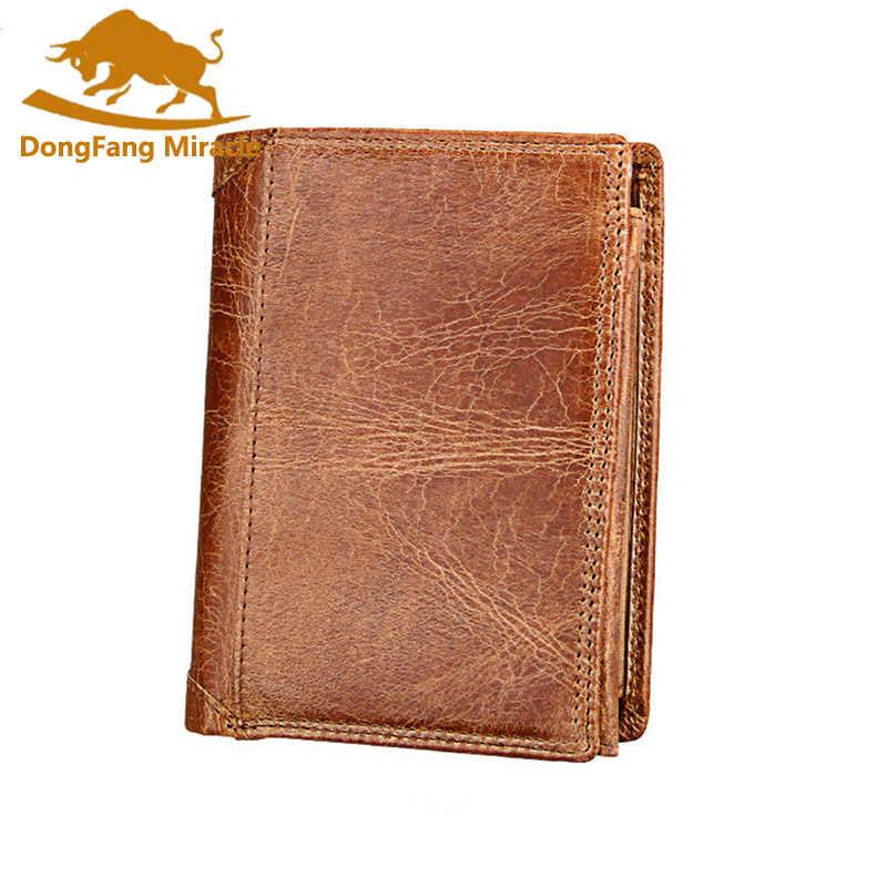 c32792e16247 Men Wallet Soft Genuine Leather Wallet Big Capacity Purse Vintage Coin  Pocket RFID Brush Card Holder Vertical Wallet