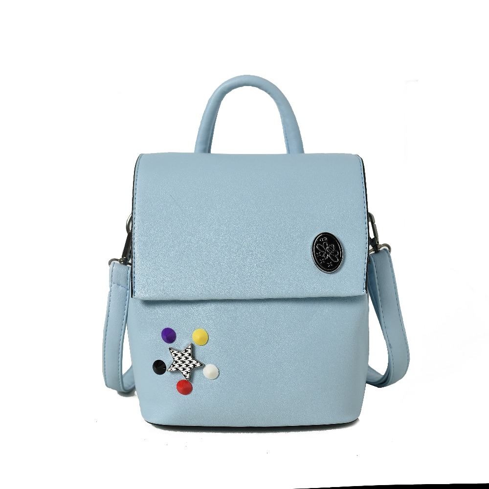 Women Bag2017 New Spring And Summer Backpack Rivet Star Solid Color Shoulder Bag Fashion All macth