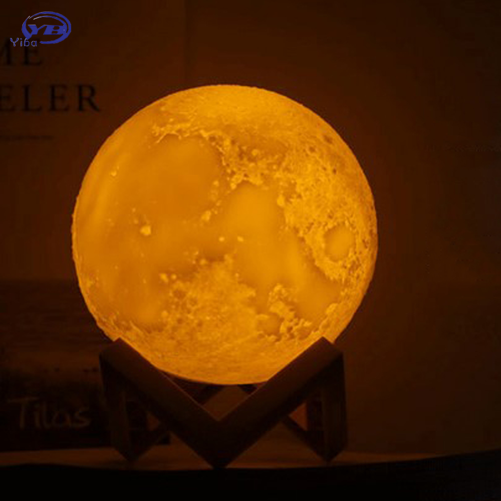 Rechargeable 3D Print Moon Lamp LED Night Light 2 Color Change Touch Switch Table Lamp Moon Light For Creative Gift Home Decor high quality 3d led night light usb switch table lamp lanterna for home decoration