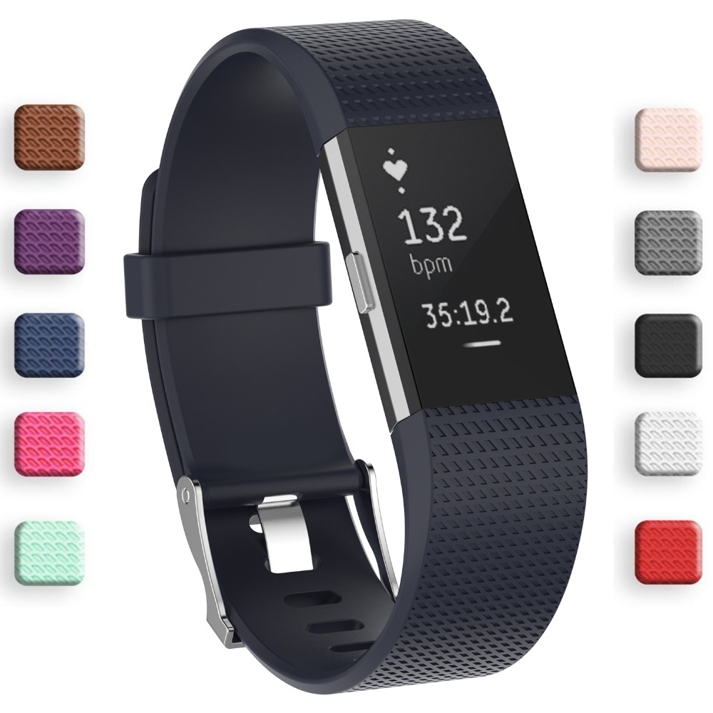 Best Silicone strap for fitbit charge2 band Fitness Smart bracelet watches Replacement Sport Strap Bands for Fitbit Charge 2 fitbit watch