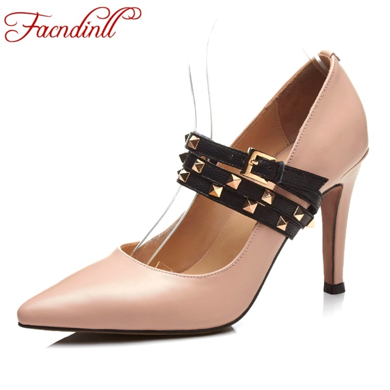 FACNDINLL gneuine leather women pumps new sexy high thin heels pointed toe shoes woman dress party wedding spring summer pumps brand shoes woman spring summer rainbow women pumps high heels fashion sexy slip on pointed toe thin heel party wedding shoes