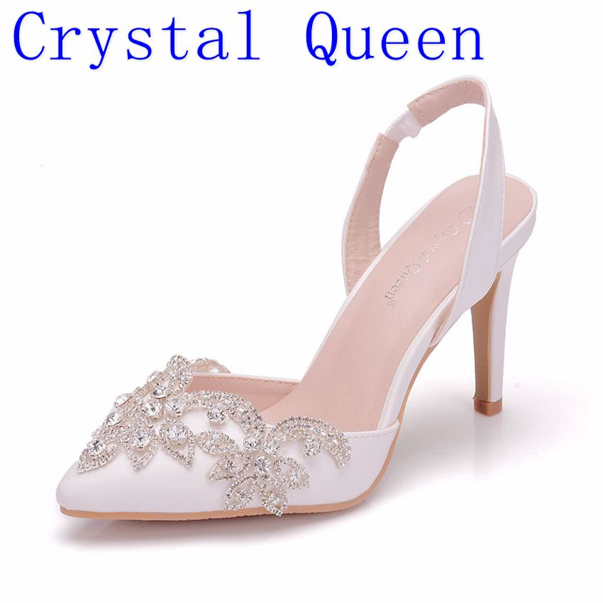 Crystal Queen Rhinestone Wedding Shoes Bridal Shoes Pointed Toe High Heel Gorgeous Party Prom Shoes Bridesmaid Dress Shoes 10CM
