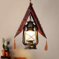 European ancient natural bamboo handmade pendant lights American individuality glass E27 LED iron lamp for corridor&porch LDK044