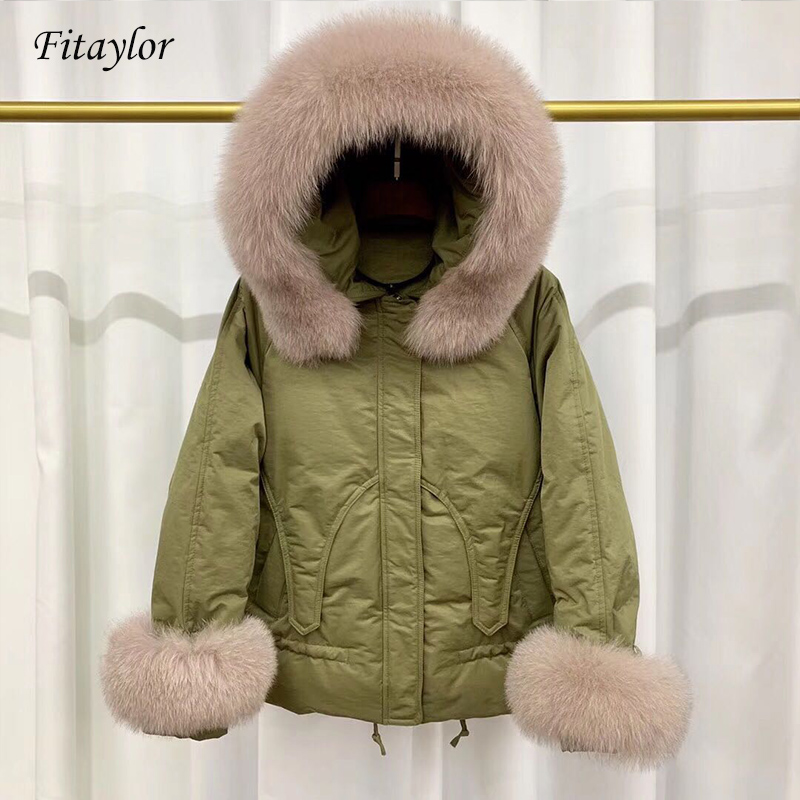 Fitaylor Large Natural Fox Fur Collar Duck   Down   Parkas Winter Jacket Women Short Hooded   Down     Coat   Female Loose Snow Outwear