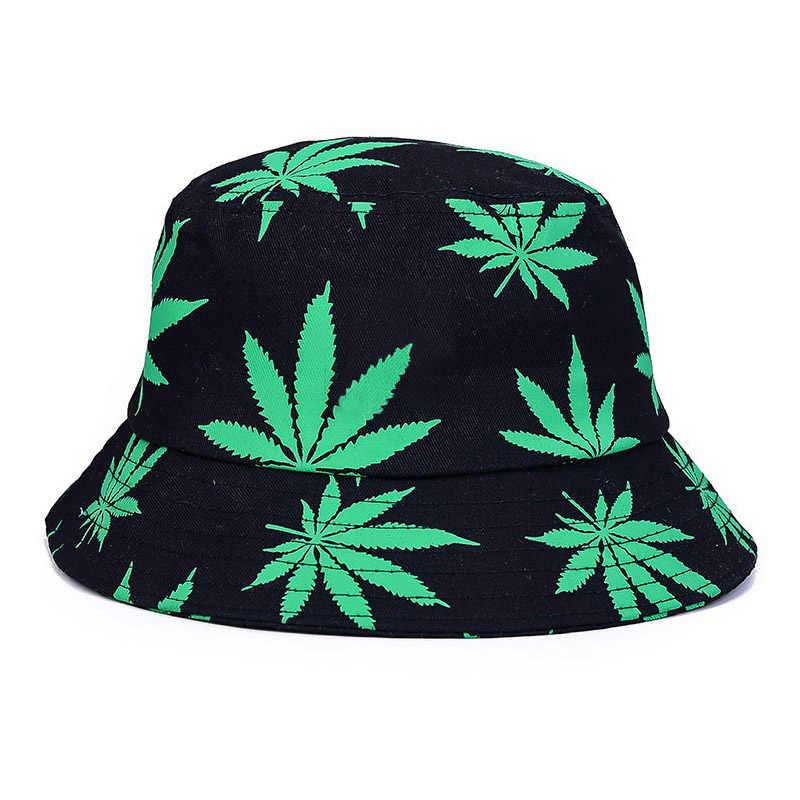 cd16e10e Print Maple Leaf Panama Bucket Hat Women Men Street Hip Hop Cap Couple Flat  Fisherman Hats