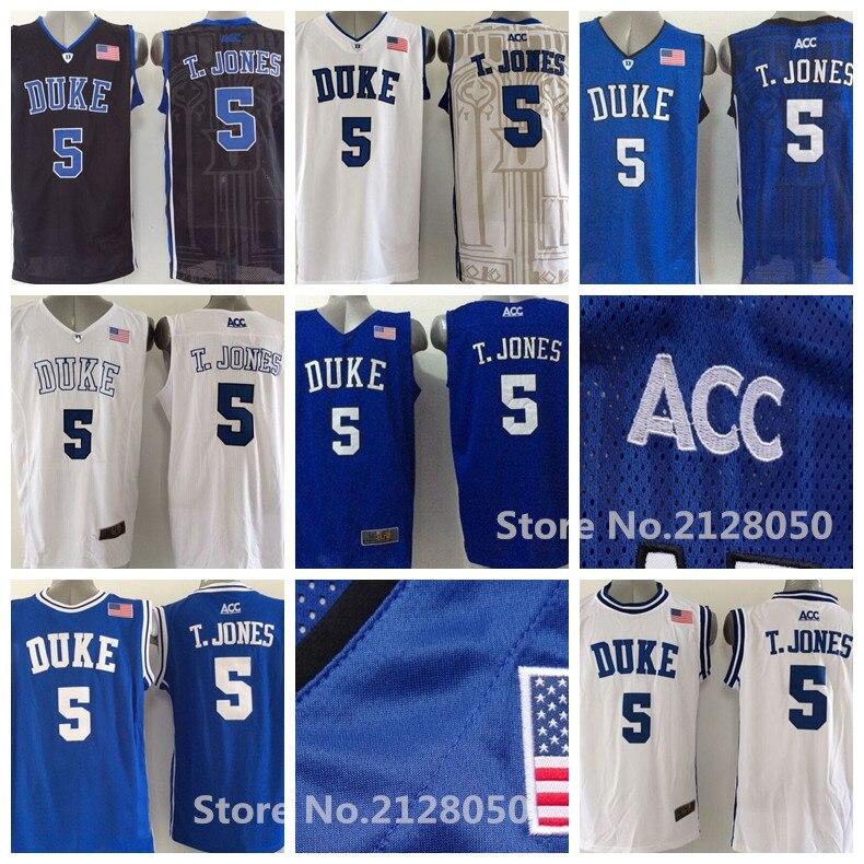 fcc7a7a41e37 2016 newest duke blue devils 5 tyus jones jerseys blue white black acc logo  college basketball