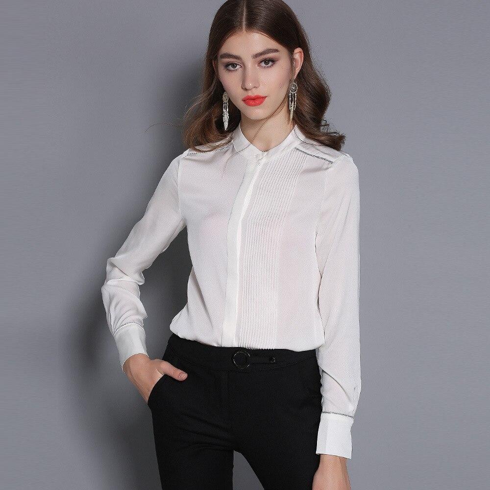 Mujeres Blusas Manga Las Blusa rojo Larga Para Y Natural De Seda La Primavera Verde Tops blanco verde Blanco Collar 100 rojo Elegante 2019 qxTnXwC7