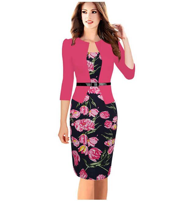 0885990d57786 Women Office Dress Suit For Ladies Work Business Wear Formal Vintage  Bodycon With Fake Blazer Jacket Belts Plus Size XXXL 4XL