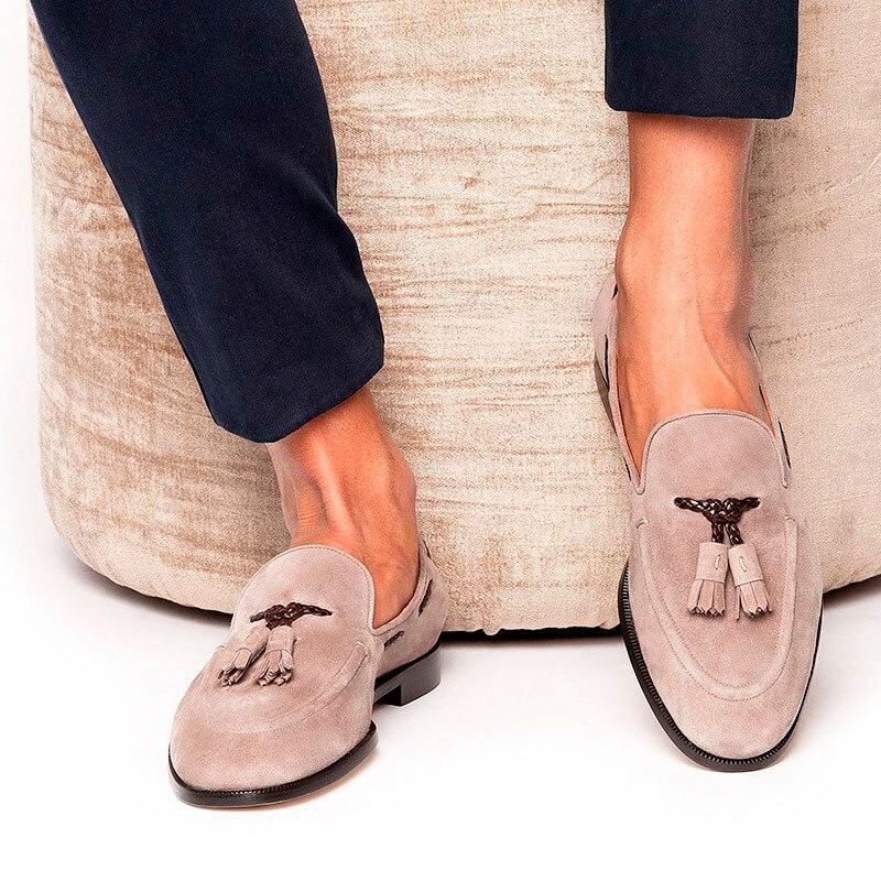 Men Fringe Tassel Loafers Nude Pink