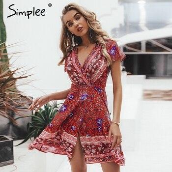 e4091da63d5 Simplee богемное цветочное мини женское летнее платье festa V Шея оборки  Бандажное Платье женское 2019 элегантное праздничное пляжное платье