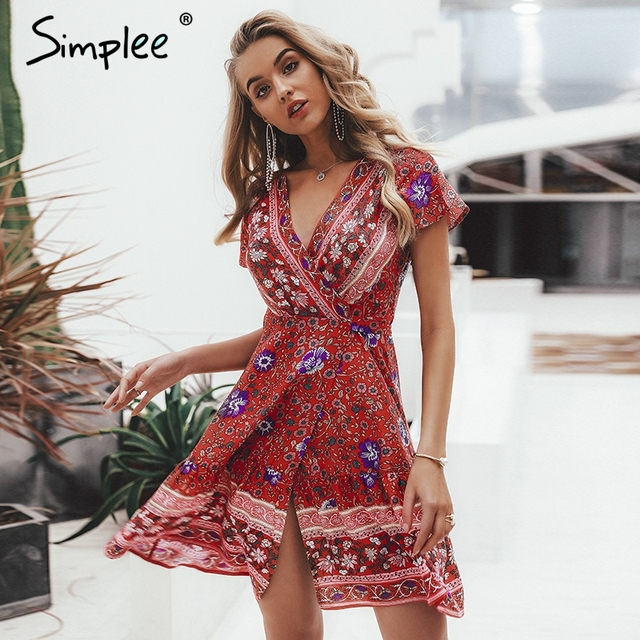 7dc3e24489 Simplee Bohemian floral mini women summer dress festa V neck ruffle bandage dress  female 2019 Elegant holiday beach sundress