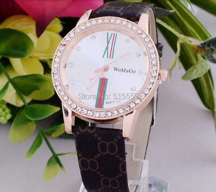 da636a8f763 100 pçs lote Womage Nova Moda Diamante Relógio De Luxo de Alta Qualidade  Pulseira de Couro relógios Homens Relógio de Quartzo Mulheres DressWatches