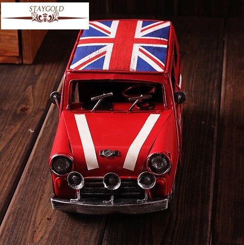 Zakka Vintage Home Decor Metal Cast Iron Toy Cars Handmade Shabby ...