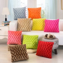 Super Soft Solid Plush Cushion Covers Wave Pattern Pillow 45*45CM Warm Decorative Pillowcases Office Rest Pillows