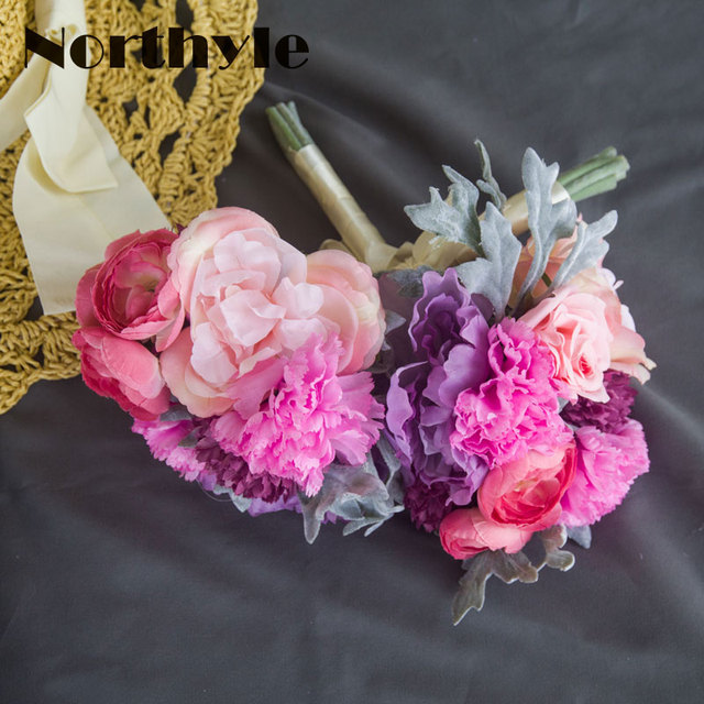 Carnation Peony Rose Bouquet Beach Wedding Flowers Bridal Bouquets ...