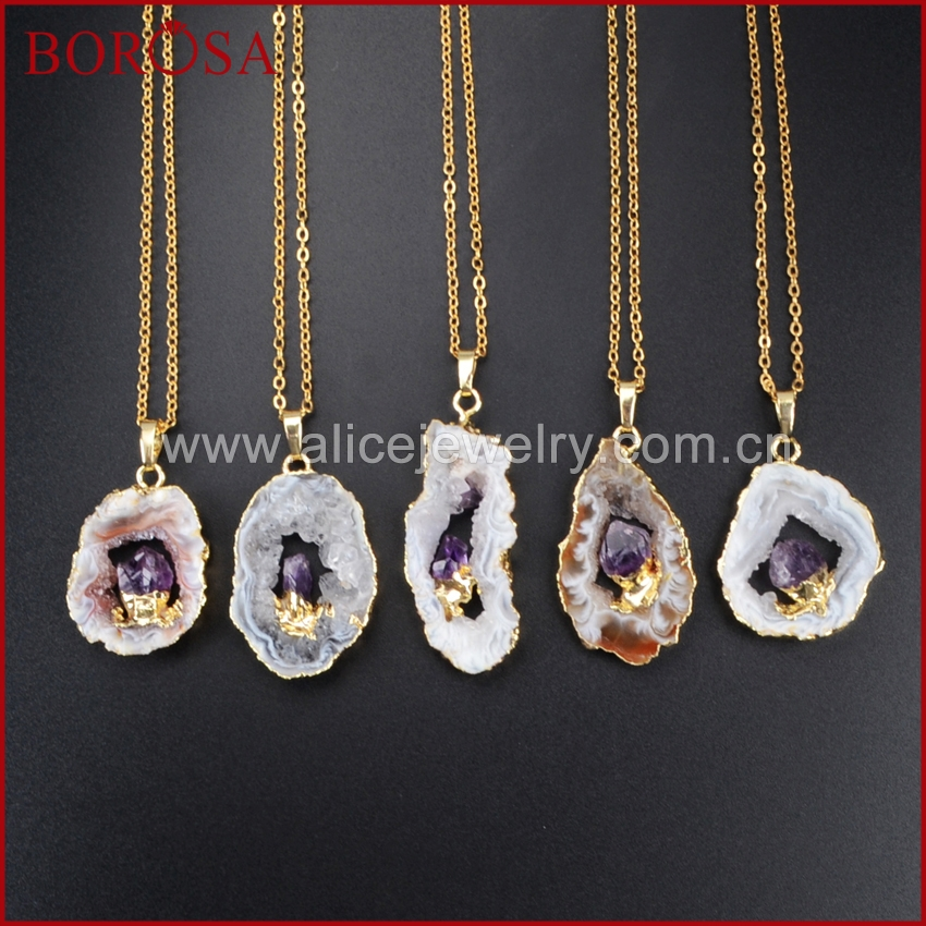 BOROSA Gold Color Freeform Natural Onyx Druzy Crystal Slice Pendant Inlay Natural Purple Crystal Necklace WX007