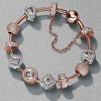 100% стерлингового серебра 925 высокого качества розовое золото роскошный очаровательный кристалл в виде сердца браслеты и браслеты для женщи