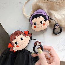 3D חמוד קריקטורה Fujiya ילדה ילד חלבי POKO סיליקון נרתיקי אוזניות עבור אפל Airpods 1 2 הגנה עמיד הלם כיסוי אבזרים