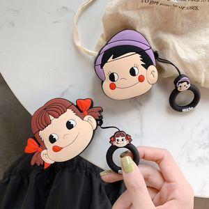 Image 1 - 3D Leuke Cartoon Fujiya Meisje Jongen Melkachtige Poko Siliconen Oortelefoon Cases Voor Apple Airpods 1 2 Shockproof Bescherming Cover Accessoires