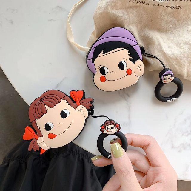 3D Leuke Cartoon Fujiya Meisje Jongen Melkachtige Poko Siliconen Oortelefoon Cases Voor Apple Airpods 1 2 Shockproof Bescherming Cover Accessoires
