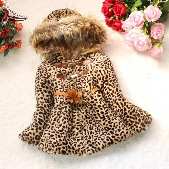 Novo Bebê Meninas Leopard Falso Pele de Raposa Gola do Casaco de Inverno Hoodies Roupas Roupas Das Crianças Das crianças Casacos Jaquetas 34