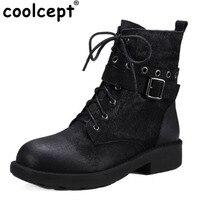 Coolcept Women Real Leather Half Short Boots Zipper Warm Fur Shoes Spring Short Botas Flats Boots Women Footwears Size 34-40